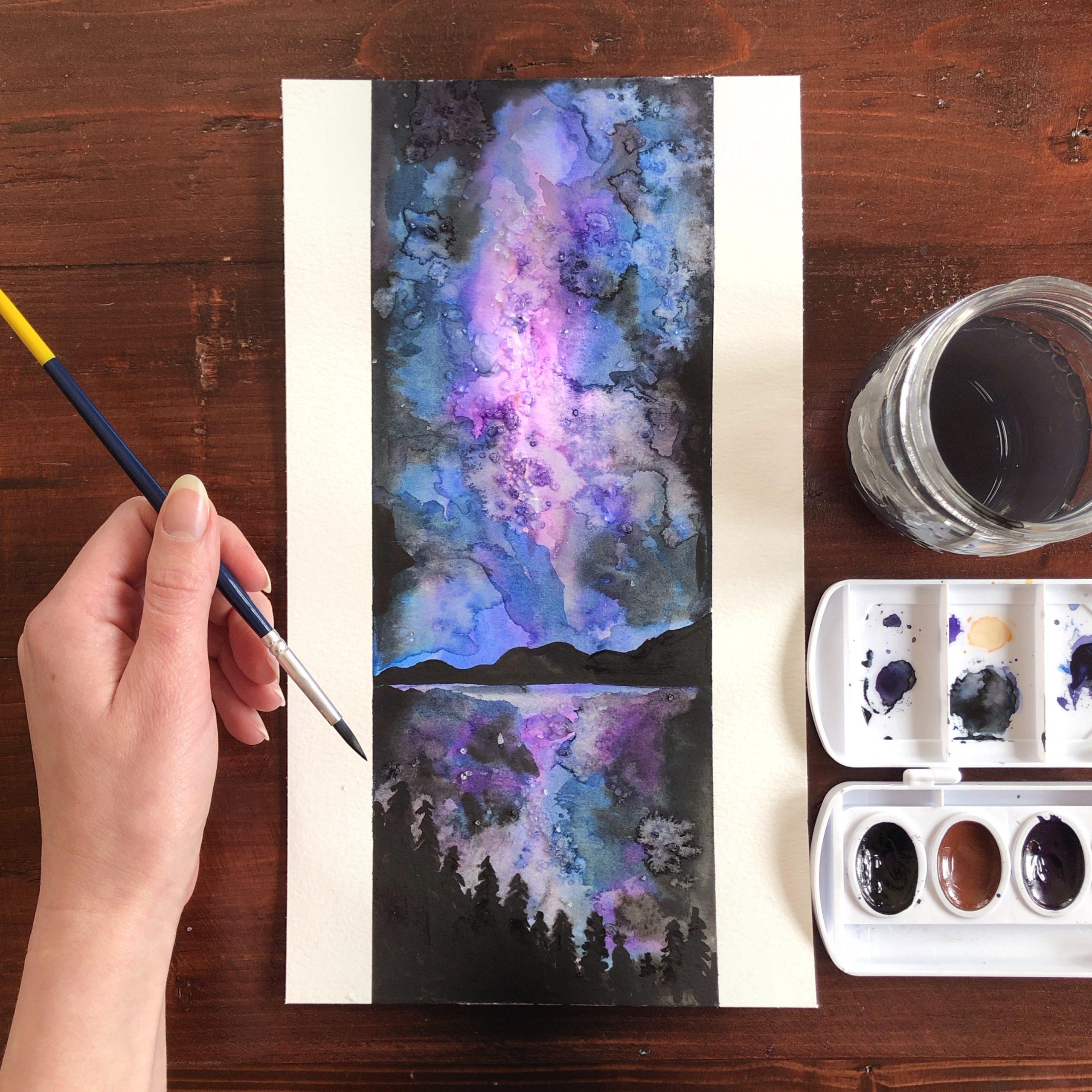 Milky Way Watercolor painting Workshop example