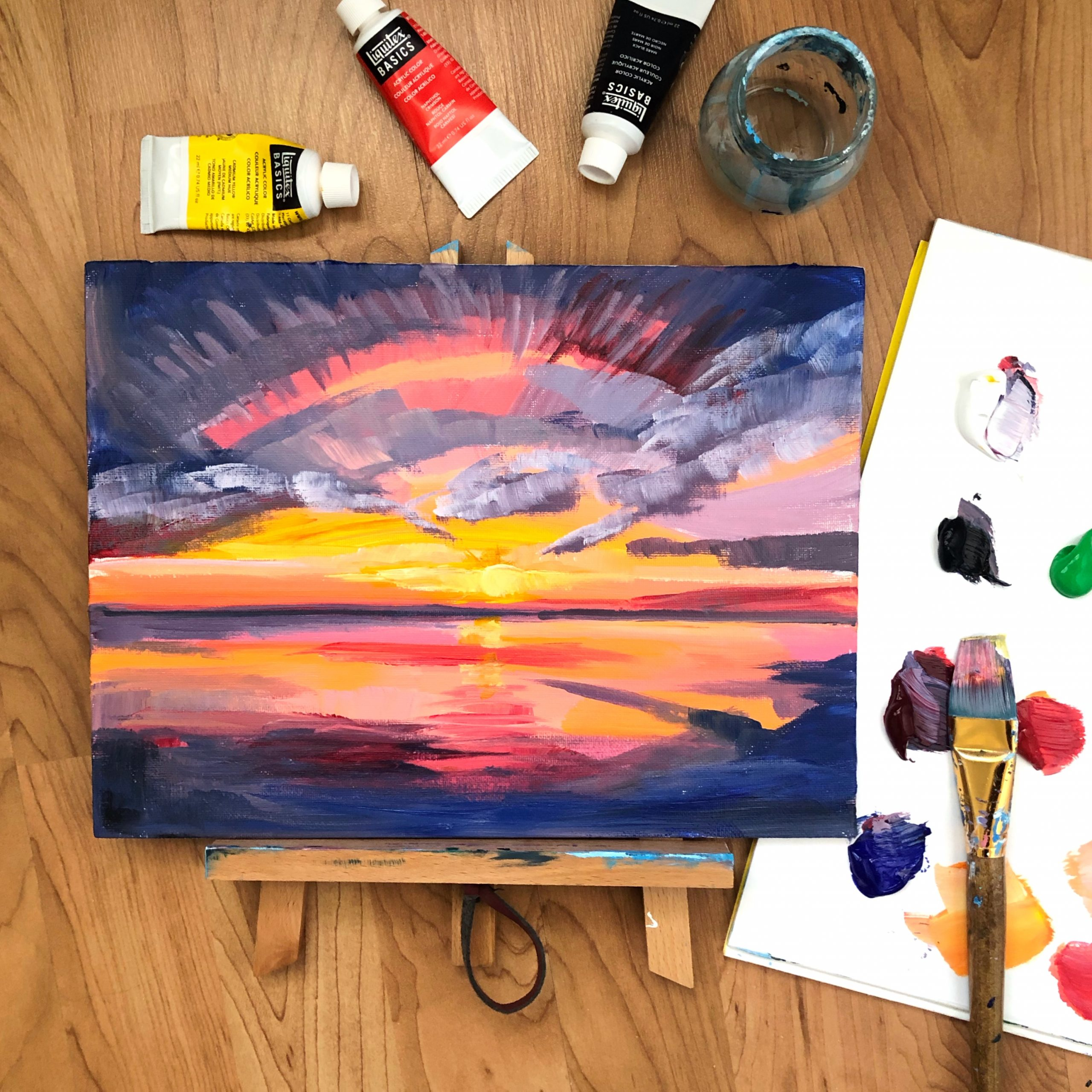 Door County Sunset Painting art class example