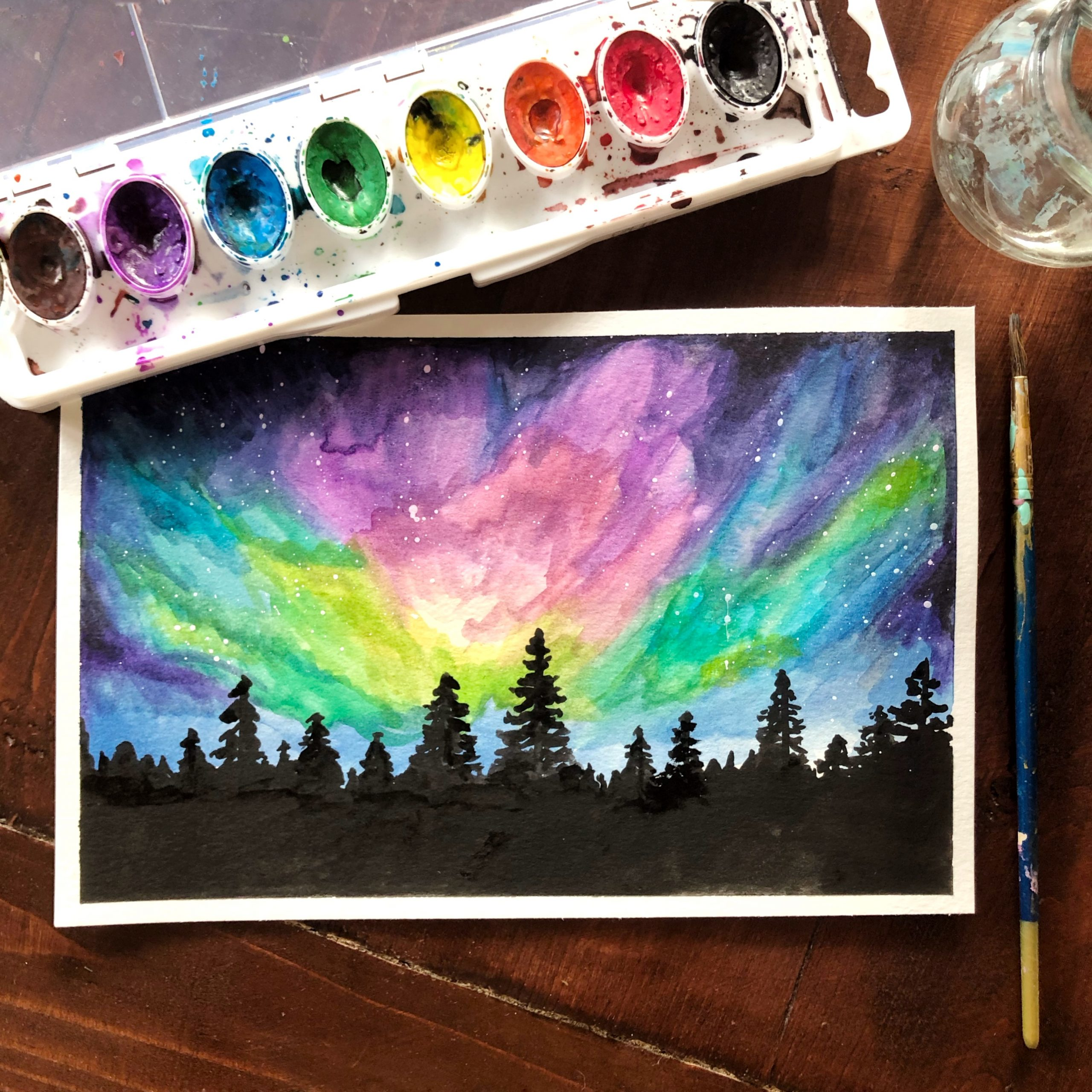 Northern Lights Watercolor Painting Class Sample