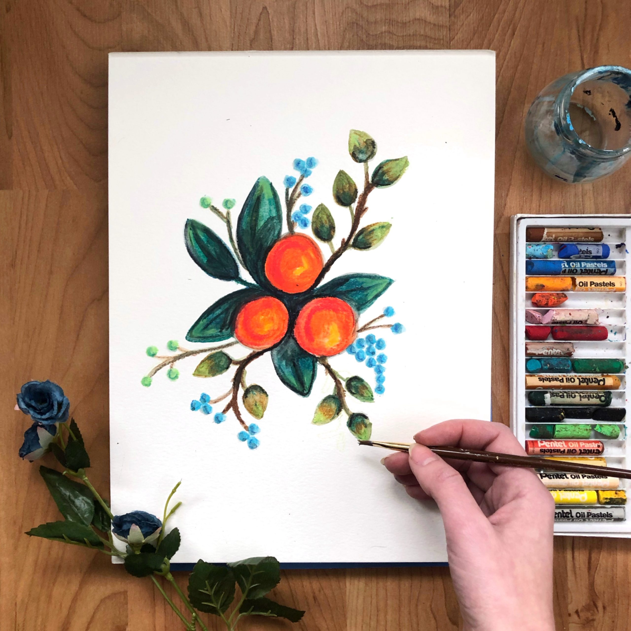 fruit floral painting art class example