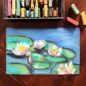 Monet inspired waterlilies drawing class
