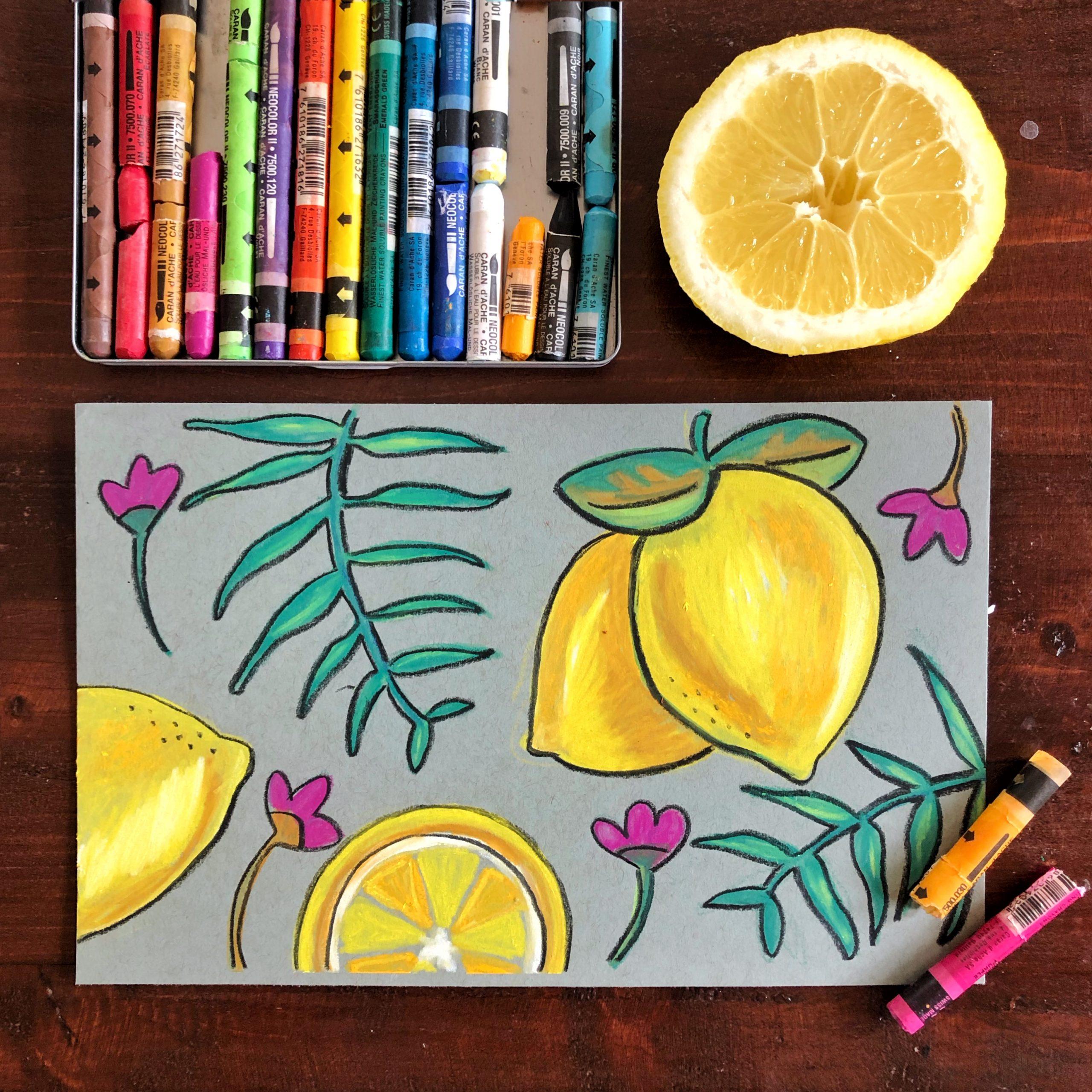 watercolor crayon class example
