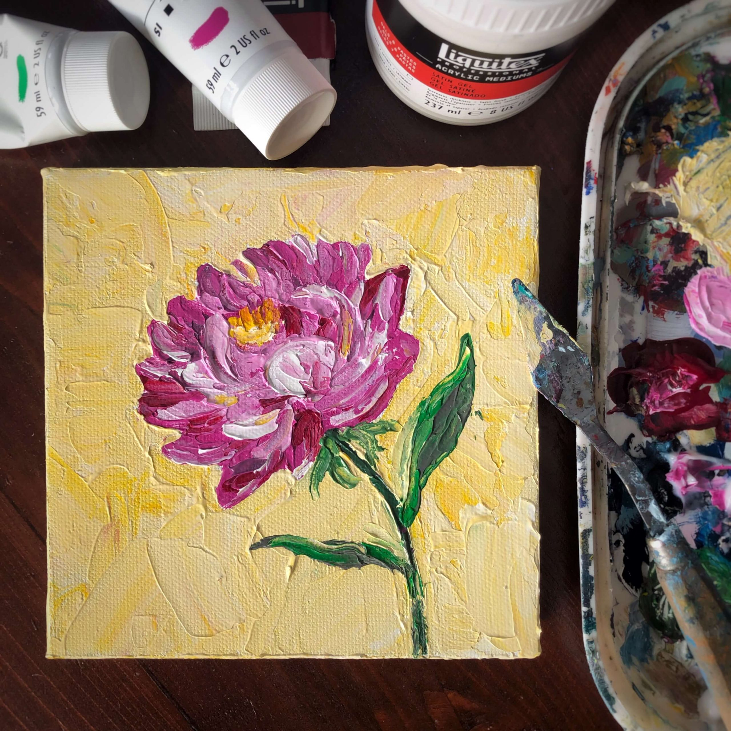beautiful peonies painted on a canvas with a palette knife art class example